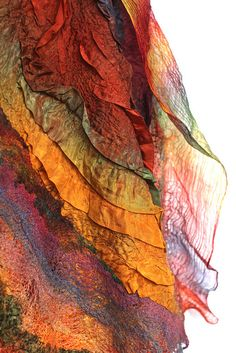 Nuno Felted Scarf Wrap by FeltedPleasure. What a colour combination!
