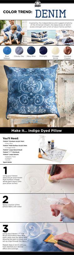 How to: DIY Indigo Denim-inspired Stenciled pillow #plaidcrafts