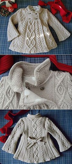 Discover thousands of images about Baby Knitting Patterns Baby Knitting Patterns Cable Knit Elizabeth Coat Free Patter. Baby Knitting Patterns, Knitting For Kids, Crochet For Kids, Baby Patterns, Free Knitting, Crochet Baby, Knit Crochet, Knitted Baby, Baby Outfits