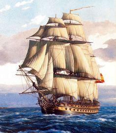 Navío Montañés 1794-1810 El Montañés, fue un navío de línea de la Armada Española construido el la ría de Ferrol y sufragado por las gentes de Cantabria.1 Se construyó siguiendo el sistema de Romero Landa.Armamento en la batalla de Trafalgar: 28 cañones de a 36 lb,30 cañones de a 18 lb,8 cañones de a 8 lb,10 abuses de a 30 lb Moby Dick, Bateau Pirate, Old Sailing Ships, Ship Of The Line, Ship Drawing, Man Of War, Ship Paintings, Wooden Ship, Nautical Art