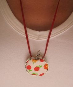 Apples Pendant Washer Necklace, Pendant Necklace, Japanese Fabric, Apples, Jewelry Collection, Color Pop, Jewlery, Cool Stuff, Unique