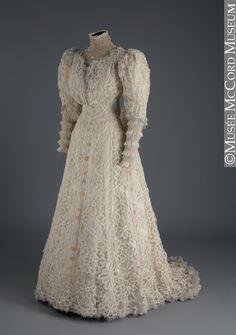 Lace and chiffon wedding dress, 1907.