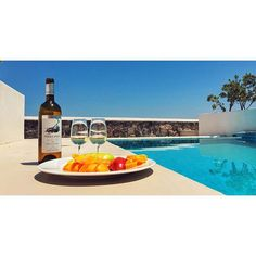 """This is the life in Santorini now… Fruit platter and chilled white wine by our private pool. ‪‎Happy‬""  Thank you Cathrine Dokken at Instagram for sharing this beautiful holiday moment at Astro Palace Hotel & Suites in Fira, Santorini - Greece!"