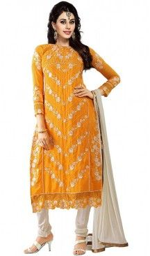 Straight Cut Style Georgette Churidar Kameez in Orange Color | FH470073004