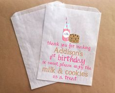 Custom Milk and Cookies Birthday Party Cookie by prettypaperparlor, $10.00