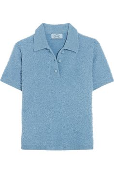 Prada - Wool-blend Bouclé Polo Shirt - Sky blue - IT48