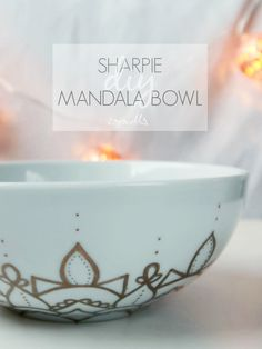Well hello again! This week I'm sharing with you this super quick and easy  way to jazz up a plain old bowl. If you follow me on instagram, you'll know  that I'm partial to doodling mandalas in my one sketch a day journaland so  when I saw this bowl in Sainsbury's on sale for less than a pound I