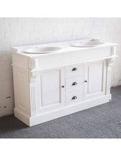 wohnindustrie.de - Waschtisch weiß im Landhausstil, Doppelwaschtisch weiß Massivholzl