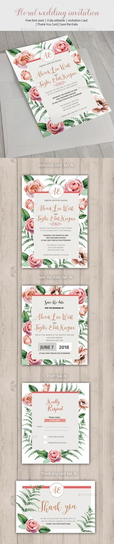 Floral wedding invitation - #Weddings #Cards & Invites Download here: https://graphicriver.net/item/floral-wedding-invitation/19730920?ref=alena994