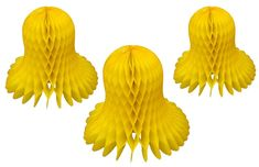 Yellow honeycomb bells. Made in USA by Devra Party. Yellow Party Decorations, Party Garland, Best Part Of Me, Tissue Paper, Honeycomb, Decorating Tips, Usa, Crafts, Beautiful