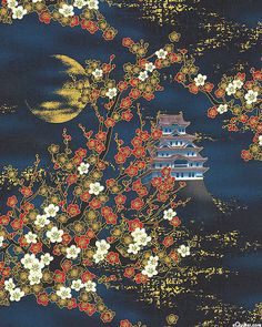 Nobu Fujiyama - Lair of the Dragon - Moon Serenade - Quilt Fabrics from www.eQuilter.com