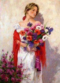 Женщины и цветы художника Jose Miguel Roman Frances. Обсуждение на LiveInternet - Российский Сервис Онлайн-Дневников