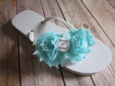 MAID OF HONOR Double Flower Flip Flops - Pick your flower color - red orange yellow green blue purple pink coral rose lavender brown peach aqua mint emerald rose fuchsia magenta navy grey gray black ivory white wedding party gifts accessory beach wedding flip flops shoes bride bridesmaid maid of honor i do chiffon flower vintage