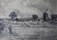 """Arndt, Leo (1857 Eilenburg – 1945 Berlin) """"Erntelandschaft mit Mühle bei Koserow auf Usedom"""""""