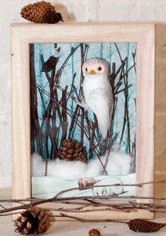 winter owl shadow box christmas gift
