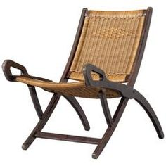 Gio Ponti Rare 'Nifea' Folding Chair with Woven Cane Seating and Back
