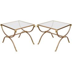 1stdibs | Pair of Mid Century Side Tables with Rams Heads by Maison Jansen