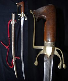 Moroccan nimcha sword, end of 18th century. Rhino horn hilt, brass guard has 3 quillons. The blade of 81 cm (32,4 inches) has a fuller  and an engraving smith stamp . The scabbard is made with antique local copper and gold alloy engraved with silver flowers on one side. Total length 98 cm (39,2 inches).