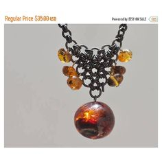 ON SALE Vintage Baltic amber necklace, Vintage Baltic amber jewelry,... (105 ILS) ❤ liked on Polyvore featuring jewelry, necklaces, copper pendant, chain pendants, vintage amber necklace, long pendant necklace and copper chain necklace