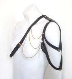 Wyvern Leather Harness Shoulder Harness Black by LoveLornLingerie