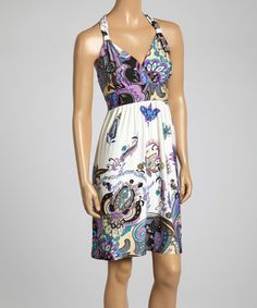 Loving this Purple Paisley Cutout Empire-Waist Dress on #zulily! #zulilyfinds
