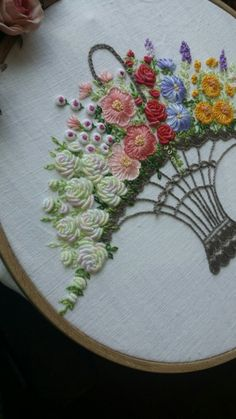 Wonderful Ribbon Embroidery Flowers by Hand Ideas. Enchanting Ribbon Embroidery Flowers by Hand Ideas. Floral Embroidery Patterns, Embroidery Flowers Pattern, Hand Embroidery Stitches, Silk Ribbon Embroidery, Crewel Embroidery, Hand Embroidery Designs, Embroidery Techniques, Cross Stitch Embroidery, Embroidery Bracelets
