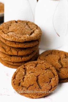 Old fashioned molasses cookies can be made with oatmeal and drizzled with icing for a sugary twist. Or make giant molasses cookies and spread some smiles around! #spendwithpennies #molassescookies #cookies #recipe #ginger #soft #chewy #gingerbread #sugar #best Old Fashioned Molasses Cookies, Roasted Vegetables With Chicken, Homemade Chicken Salads, Homemade Garlic Bread, Scalloped Potato Recipes, Dinner Rolls Recipe, Slow Cooker Roast, Candied Bacon, Baked Ham
