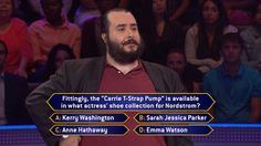 """Monday, James Rowe gets """"pumped"""" as an exciting week begins on #MillionaireTV. Is the correct #FinalAnswer #KerryWashington, #SarahJessicaParker, #AnneHathaway or #EmmaWatson? Don't miss Monday's show with host Terry Crews and find out if the shoe fits for James. Go to www.millionairetv.com for local time and channel to watch!"""