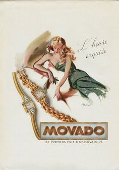 Movado ad Vintage Ads, Vintage Posters, Beaded Watches, Princess Jewelry, Swiss Made Watches, Watch Ad, Design Movements, International Artist, Watercolor Design