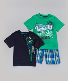 This Black & Turquoise 'Varsity' Tee Set - Infant is perfect! #zulilyfinds