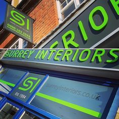 Cut vinyl window decals and laser cut and polished clear acrylic letters with lime green vinyl wrap on stand-off fixings applied to new grey fascia board and tray sign for in Hersham. Fascia Board, Shop Signage, Acrylic Letters, Window Decals, Vinyl Lettering, Surrey, Clear Acrylic, Lime, Creativity