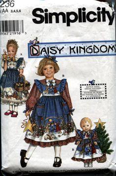 Simplicity 8236, Daisy Kingdom Girl's Dress and Matching 18 Inch Doll Dress. $5.95, via Etsy.