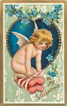 Tuck DB: TO MY VALENTINE cherub kneels on two heart shaped cushions held together with ribbon #vintage #edwardian #victorian