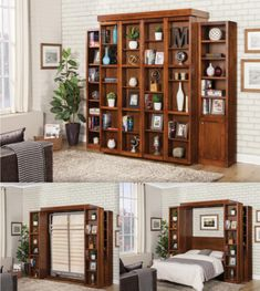 The Library model wallbed gives you a completely hidden space for your bed. Once folded up it looks like a typical home library equipped… Modern Murphy Beds, Bed Wall, Space Saving Furniture, Folded Up, Shelves, Model, Home Decor, Shelving, Decoration Home