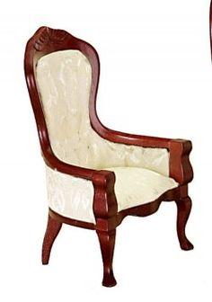 Vict Gent'S Chair, White/Mahogany