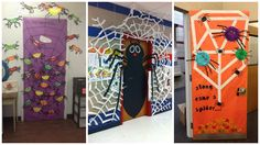 Découvrez des idées de décorations de porte de classe pour Halloween qui conviennent aussi pour les portes de chambre des enfants et salle de fêtes ...