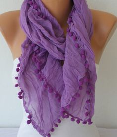 ON SALE - Lilac  Scarf  - Spring Scarf  Cotton  Scarf -  Cowl Scarf  Women's Fashion Accessories