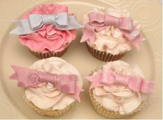 Little pastel bow cupcakes, yummy yummy. www.rockpaperstickers.co.uk