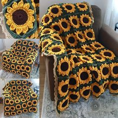 I made this using a modified pattern from momsloveofcrochet its made up of 48 gorgeous sunflower granny squares! Sunflower crochet handmade gift Afghan granny square floral flower summer decor home decor unique blanket cozy outdoor indoor Crochet Simple, Crochet Diy, Crochet Crafts, Yarn Crafts, Crochet Projects, Decor Crafts, Diy Crafts, Diy Projects, Sewing Projects