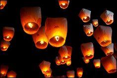 Lâché de lanterne en animation