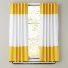 Shop Kids Curtains: Yellow and White Curtain Panels. The simple design of these curtains allows them to match a variety of décor while simultaneously adding a nice splash of color. Grab a few and live on the edge. Color Block Curtains, Yellow Curtains, Striped Curtains, Panel Curtains, Curtain Panels, Roman Curtains, French Curtains, Vintage Curtains, Gold Curtains