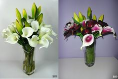 Real Touch Calla Lillies. REAL TOUCH Flower Arrangements LOOK and FEEL REAL and are permanently set hard in a clear ARTIFICIAL WATER, guaranteed to look fresh forever. Handmade, modern Flower Arrangements that are ideal for Allergy Sufferers. Perfect for Home Decor, Weddings, Offices and Special Occasions. Flower Arrangements come exactly as pictured, with flowers, vase and simulated water. Easy to clean with baby wipes. Pick-up welcome or cheap courier delivery available Australia wide.