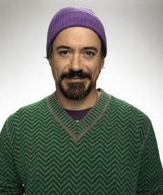 RDJ. Purple shirt peeking out and purple hat. :)