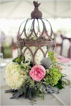 Centerpiece, cage, flowers