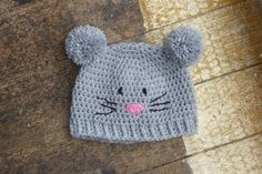 Hand crocheted  animal hat / beanie. Teen / adult. £10.00, via Etsy.