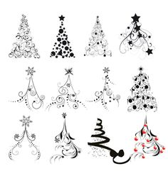 Christmas tree designs vector 307621 - by lindwa on VectorStock®