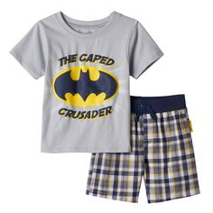 "Baby Boy DC Comics Batman ""The Caped Crusader"" Tee & Plaid Shorts Set, Size: 18 Months, Grey"