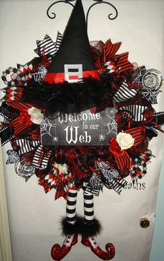 Welcome To Our Web Witch Mesh Wreath with Hat Legs/Witch Decor/Witch…