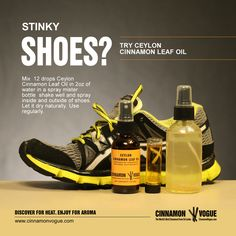 A really neat way to get rid of stinky shoes and keep them dry if you are an athlete with Ceylon Cinnamon Leaf Oil. Cinnamon Leaf Oil, Ceylon Cinnamon, Stinky Shoes, Oil Mix, Oil Uses, Insect Repellent, Massage Oil, Rid, Vogue