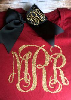 Glitter Monogram T Shirt with Glitter Monogram Cheer Bow, Monogrammed gift set, Cheerleaders, Teens, Girls, Monogrammed Tops